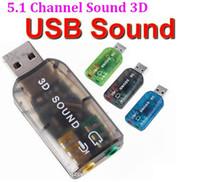 tarjeta de sonido de audio usb al por mayor-Adaptador externo externo de la tarjeta de sonido del USB del canal 5.1 3D 3D Micrófono Auricular Tarjeta de sonido externa Adaptador * 1000 unids / lote