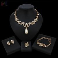 Wholesale china pearls jewellery for sale - Group buy Yulaili Pearl Drop Pendant Crystal New Arrival Design Necklace Bracelet Earrings Ring Jewellery Jewelry Set For Nigerian Women