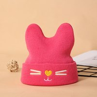 Wholesale crochet cat beanie baby hats for sale - Group buy New Autumn Winter Kid Baby Girls Boys Hat Cartoon Cat Kids Knitted Beanies Skull Caps Children Warm Hats Colors M195