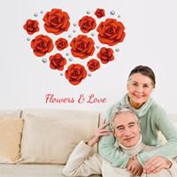 ingrosso divano moderno diy-Modern Romantic Love Red Rose Fiori Adesivi murali Decorazione di cerimonia nuziale TV divano parete finestra arte murale in PVC rimovibile Poster fai da te