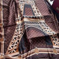 Wholesale brand shawl resale online - Luxury Classic European Designer scarfs Womens brand Scarfs Eiffel Tower silk black brown scarfs With Tag x90Cm Shawl