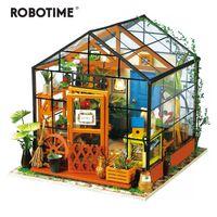 holzspielzeug modell häuser groihandel-Robotime 14 Arten DIY Haus mit Möbeln Kinder Erwachsene Miniatur aus Holz Puppenhaus Modellbau Kits Puppenhaus Spielzeug