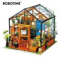 casas modelo de juguete de madera al por mayor-Robotime 14 tipos de bricolaje casa con muebles de niños adultos de madera miniatura de la casa de muñeca Modelo de construcción juegos de muñecas de juguete