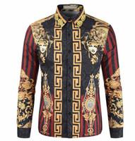 ingrosso stampa vintage t-shirt-Vintage Fashion Flora Stampa Mens Shirts Luxury Hot Mens Casual Vintage Top manica lunga Designer Tees