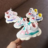 rahat spor ayakkabıları kızlar toptan satış-2018 Sonbahar Kız Bebek Boy Yürüyor Bebek Casual Ayakkabı Koşu Yumuşak Alt Rahat Dikiş Renk Çocuk Sneaker