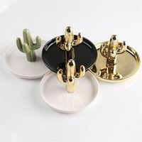 Wholesale antler decor resale online - Classical Modern Ceramic Jewelry Tray Delicate Cactus Antler Desktop Decor Plates Home Portable Storage Plate New Style sy Ww