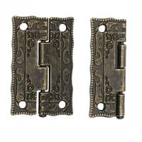 antik çekmece kutuları toptan satış-10 Adet Antik Bronz Menteşe Kabine Kapı Çekmece Dekor Mini Menteşe Takı Depolama Ahşap Kutu Mobilya donanım Için Aracı bağlamak