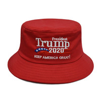 Wholesale travel accessories for women for sale - Group buy Outdoor Breathable Bucket Hat Women Men Embroidered Sunshade Cotton Cap For Beach Travel American President Election Accessories
