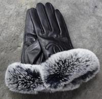 guantes de piel de conejo real al por mayor-Piel de invierno para mujer Softs de cuero genuino de lujo Guantes de la marca de moda Conejo de felpa Piel de oveja suave y cálida Guantes de pantalla táctil de baile sexy