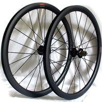 ruedas de bicicleta de fibra de carbono de 38 mm. al por mayor-La fibra de carbono carretera disco bicicleta ruedas de freno 38 mm 50 mm 60 mm remachador bicicleta tubular de ruedas 700c 3K mate Anchura de la llanta 25 mm versión QR