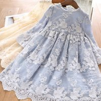 Wholesale beige crepe dress resale online - Fall new girls dresses kids lace gauze floral embroidery dress children lace collar falbala sleeve princess dress kid clothes F8936