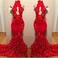 Wholesale prom dress sale free shipping resale online - Red Rose Mermaid Prom Dresses New Sexy High Neck Appliques Formal Evening Dresses Sweep Train Hot Sale Cocktail Party Gowns