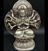 Wholesale china hand statue for sale - Group buy China collection Buddhism archaize white copper Thousand Hand Kwan yin statue
