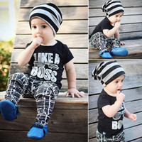 Wholesale baby glasses clothes for sale - Group buy 2019 Kids Clothing Sets Summer Baby boy letter Print T shirt Pant Outfits Toddler Fashion Glass Tops Children Suits