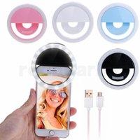 kamera flaş kablosu toptan satış-LED Kamera ile şarj edilebilir Özçekim Halka Işık Fotoğraf Flaş Light Up USB Kablosu ile Özçekim Aydınlık Halka Tüm Telefonlar için Evrensel
