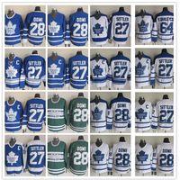 ingrosso foglia di acero bianco-Toronto Maple Leafs 28 Tie Domi / 27 Darryl Sittler / 64 Stanleycup White Blue Hockey Maglie Classic CCM Vintage Hockey Jerseys