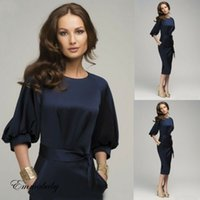 kariyer elbiseleri giydirme toptan satış-Kadın Çalışma Kariyer Bodycon Kalem Elbise Yarım Kollu Mavi İş Elbise Giymek