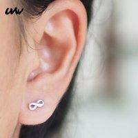 ingrosso orecchini piercing neri-UVW067 2pc punk argento nero oro chirurgico in acciaio 8 numero orecchini per le donne piccoli orecchini pendientes piercing gioielli