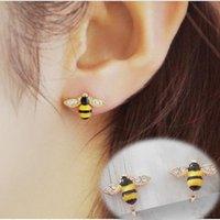 ingrosso orecchini del polsino animale-Cute Ear Bee Ear Cuff on Earrings for Women Girls Orecchini strass animali senza piercing all'orecchio gioielli