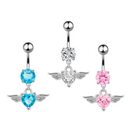 aros de oreja de niños al por mayor-Lovery Anti Alergic 18K oro blanco plateado Diamond Anglel Wings Belly Ring para Sexy Gilrs Mujeres Drop Shippping
