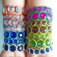 ingrosso pittura di smalto dei monili-Bordano i braccialetti di pittura di nuovo a mano multicolore su misura Big cristallo elastico braccialetto dello smalto Stretch di vetro braccialetto delle mattonelle a monili delle donne M774F