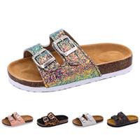 Wholesale bling pu slipper for sale - Group buy 2019 New Kids Slippers Summer Beach Children Cork Sandals Bling Sequins For Family Shoes Leopard Barefoot Flats Girls Slipper