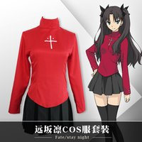 saia vermelha uniforme venda por atacado-Cosplay Halloween Anime Mulheres Fate Stay Noite Tohsaka Rin Red Skirt Set uniforme completo (Asian Size)