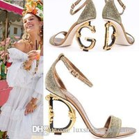 keilsandalen größe 42 großhandel-High Heels Sandalen für Damen, Echtes Leder Dressing Pumps mit D Barock G Sculpted Heel Sandalen Größe 34-42