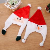 plush snowman großhandel-Weihnachtsgeschenk Weihnachten dekorativen Hut Plüsch Seite Hut Goldener Samt Weihnachtsmann Schneemann
