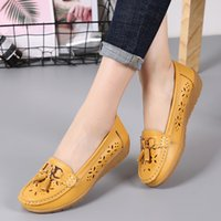 Wholesale lace female moccasins resale online - WoMen Flat Genuine Leather Shoes Woman Loafers Slip On Female Flats Moccasins Ladies Driving Shoe Cut Outs Mother Footwear