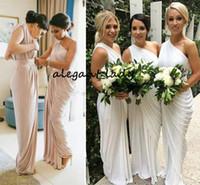fildişi drape elbise toptan satış-Bir Omuz Şampanya Gelinlik Modelleri Draped Saten Uzun Fildişi Mor Parti Elbiseler Onur Hizmetçi Bölünmüş Düğün Konuk Elbiseler