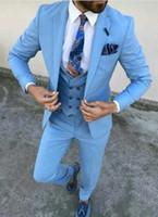 drei stücke design großhandel-Neues Design Eine Taste Hellblau Hochzeit Männer Anzüge Kerbe Revers Neue Drei Stücke Business Bräutigam Smoking (Jacke + Pants + Weste + Tie) W958