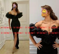 vestidos de baile sexy árabes venda por atacado-Preto Africano Vestidos de Noite 2019 Fenda Dianteira Sexy Formal Vestidos de Festa Ruffles Dubai Arabian Long Prom Vestido Médio Oriente Robes de soiree