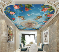 Wholesale mural kitchen for sale - Group buy WDBH d ceiling mural wallpaper custom photo European embossed pattern sky angel rose flower decor d wall murals wallpaper for walls d
