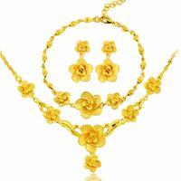 Wholesale vintage gifts dubai resale online - Dubai Jewelry Sets Vintage Flower Necklace Earring Bracelet Female Bride Married Wife Sister Gift Fashion African Jewelry