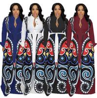 digitaldruck kleid frauen großhandel-Digital Gedruckte Kleid Frauen Plus Größe 3D Schmetterling Print Ballkleid Langarm Umlegekragen Party Maxi Kleider LJJO6604