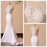 Wholesale pearl wraps resale online - 2019 Charming Jewel Neck Lace Applique Wedding Dress Mermaid Sleeveless Pearl Beading Back Simple Wedding Dress with Sweep Train