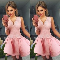 Wholesale stunning knee length dresses for sale - Group buy Stunning Pink V Neck Homecoming Dresses Long Sleeve Satin Lace A Line Mini Knee Length Short Prom Dress Cocktail Party Club Wear