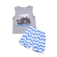 roupa do tubarão dos miúdos venda por atacado-Atacado crianças roupas urbanas oceano tubarão padrão 2 Pcs set Outfits Kid Roupas Casuais crianças roupas de menino