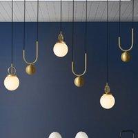 yatak odası için modern lambalar toptan satış-İskandinav Modern LED Kolye Işıklar Yemek Odası Restoran Işık Basit Yatak Odası için Hanglamp Cam Top Asılı LED Lambalar Fikstür