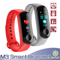 bilezikler için vitrinler toptan satış-M3 MI3 Fitbit için Akıllı Bilezik Spor Izci ile Kalp Hızı Saatler XIAOMI APPLE Perakende Kutusu ile İzle Renkli LCD Ekran