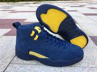топ-стиль баскетбольная обувь оптовых-Высокое качество ретро Мичиган 12 12s мужская баскетбольная обувь стиль код BQ3180-407 XII открытый спортивная обувь с оригинальным размером коробки US7 -- 13