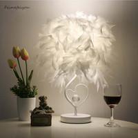 ingrosso tabelle uk-Feimefeiyou Comodino Sala lettura Salotto a forma di cuore Lampada da tavolo in cristallo di piume con spina EU Spina UK UK AU piccola dimensione