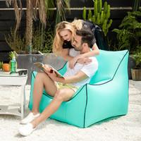 aufblasbare betten großhandel-Aufblasbare Luftschlafsäcke Air Sofa Couch Tragbare Hangout Liegestuhl Faul Aufblasen Camping Strand Schlafsofa Outdoor Hängematte MMA1864
