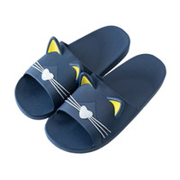 chinelo de plástico para homens venda por atacado-Casa Dos Desenhos Animados Chinelos de Gato Personalidade Feminina de Verão Unisex Sapatos de Plástico Amantes Do Banheiro De Plástico Chinelo Chinelos Macios dos homens Deslizamento