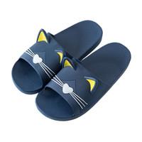 männer plastikhefterzufuhr großhandel-Home Cartoon Katze Hausschuhe Weibliche Sommer Persönlichkeit Unisex Schuhe Indoor Kunststoff Bad Liebhaber Slipper Weiche Hausschuhe Slip der Männer