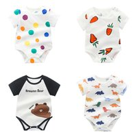 Wholesale strawberry girls clothing resale online - Newborn Baby Cartoon Rompers Colors Infant Strawberry Dot Onesies Kids Casual Clothing Boys Girls Baby Clothes Toddler Jumpsuit