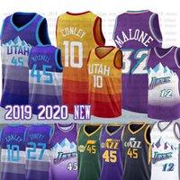jersey 27 baloncesto al por mayor-Donovan Mike Conley 10 camiseta de baloncesto de la universidad Rudy Gobert 27 12 32 Stockton John Malone Karl 45 Mitchell Jersey