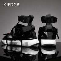 zapatos de lona de verano para hombres al por mayor-KJEDGB Nueva 2019 Moda Verano Zapatos Para Hombre Gladiador Sandalias Diseñadores Plataforma Cómoda Sandalias de Playa Hombre Lienzo Hombres