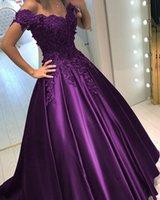 lila kaskadierende blumen großhandel-Off The Shoulder Satin Purple Abendkleider mit Schnürung Zurück Perlen Blumen Party Ballkleider